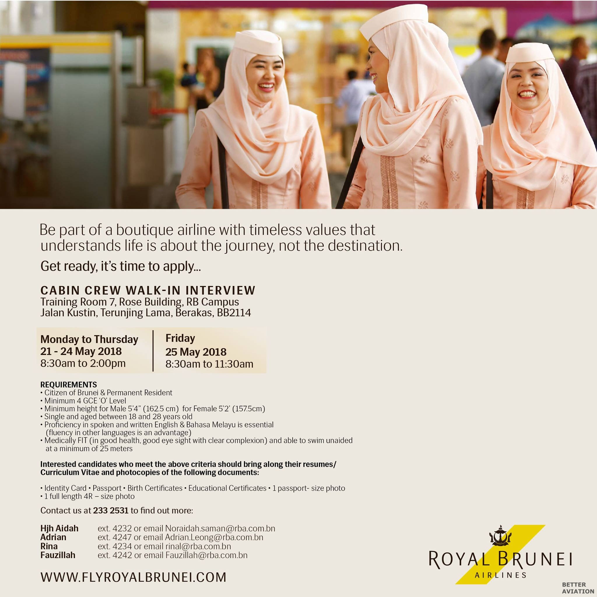 royal brunei airlines cabin crew walk-in interview  may 2018