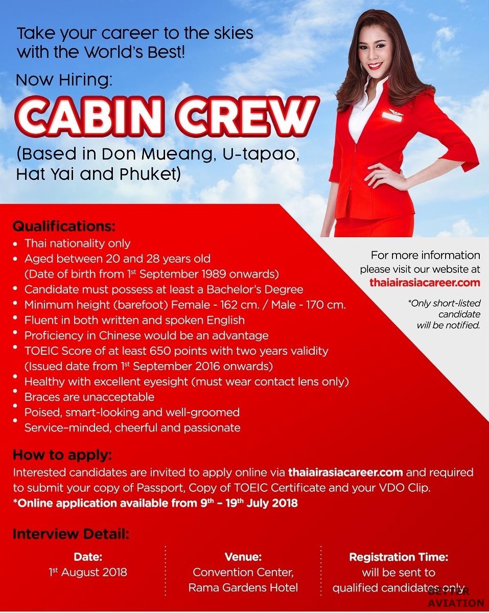 thai airasia cabin crew recruitment  august 2018