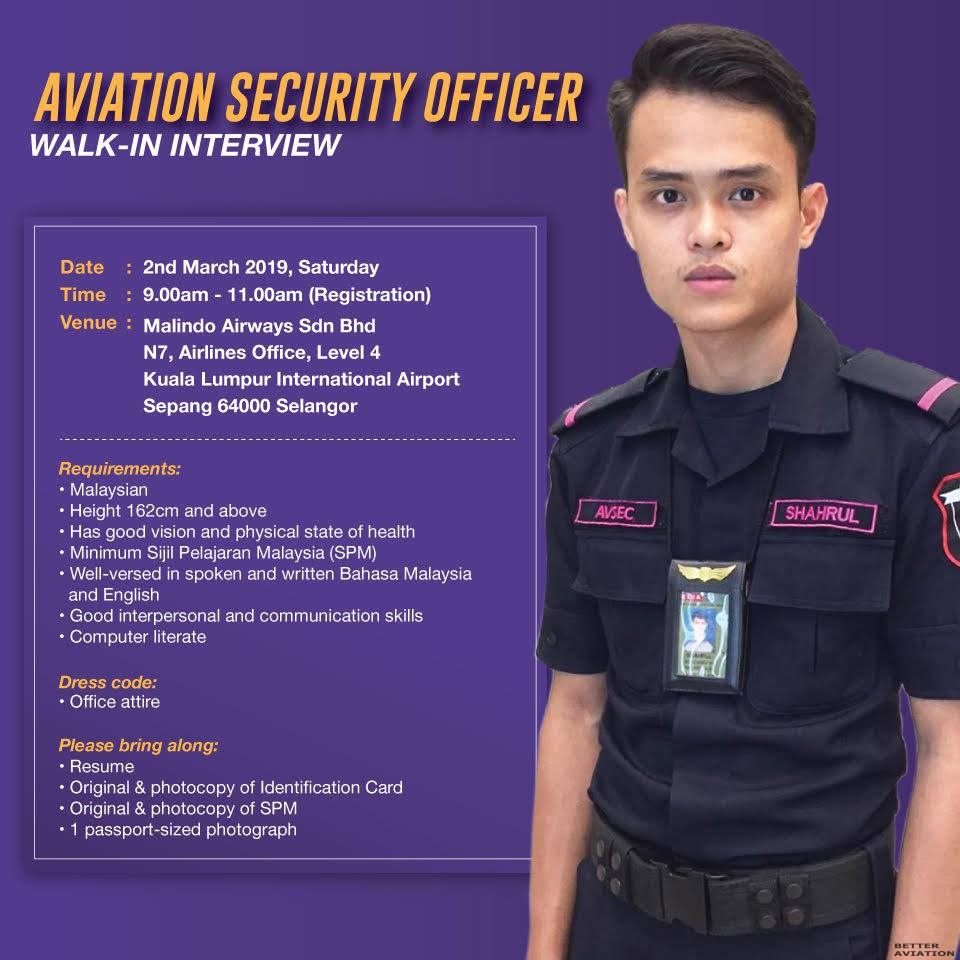 Malindo Air Aviation Security Officer Walk In Interview