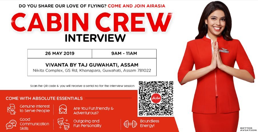 AirAsia India Cabin Crew Walk-In Interview [Guwahati] (May